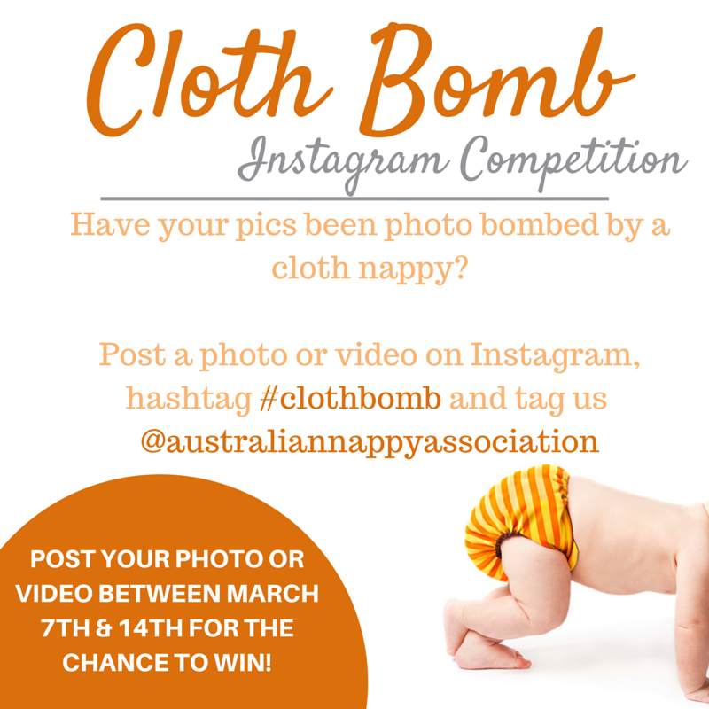 Instagram Competition - share your photo or video that has been photo bombed by a cloth nappy and go in the draw daily!