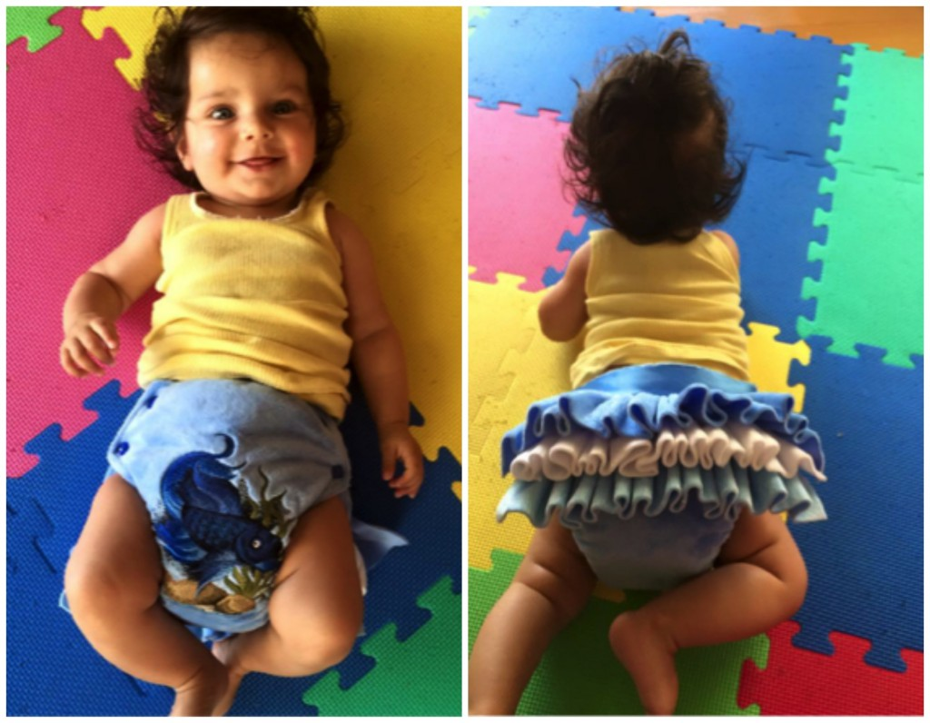 Custom with detachable ruffles, by Delightful Duds. What else would you give a 4 month old for Christmas? Bubba2, 4 months.