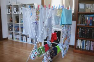 We don't own a dryer so through winter we hung the nappies in front of the heater.