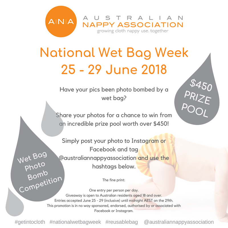 Join in the fun of National Wet Bag Week and you could win from a prize pool worth over $450! #nationalwetbagweek #reusablebag #getintocloth @australiannappyassociation
