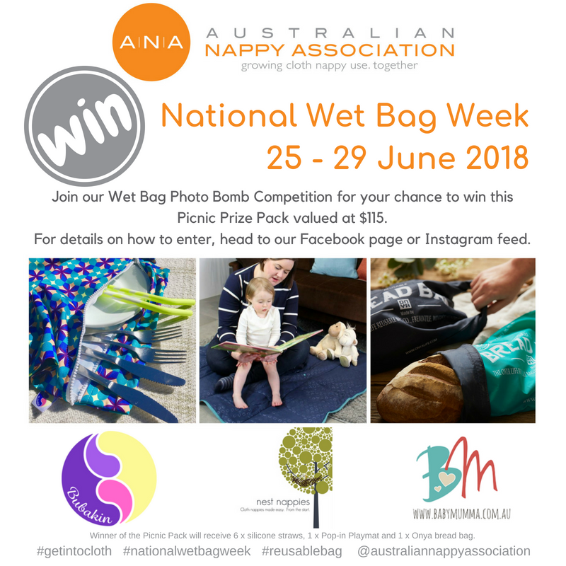 Join in the fun of National Wet Bag Week and you could win this Eco Picnic Prize Pack! #nationalwetbagweek #reusablebag #getintocloth @australiannappyassociation