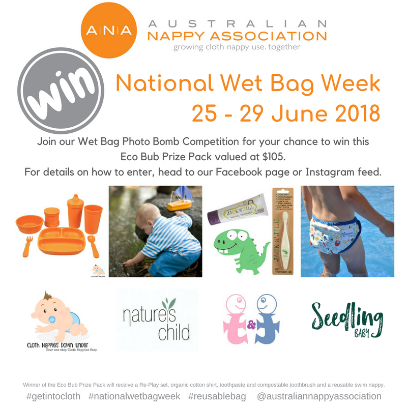 Join in the fun of National Wet Bag Week and you could win this Eco Bub Prize Pack! #nationalwetbagweek #reusablebag #getintocloth @australiannappyassociation