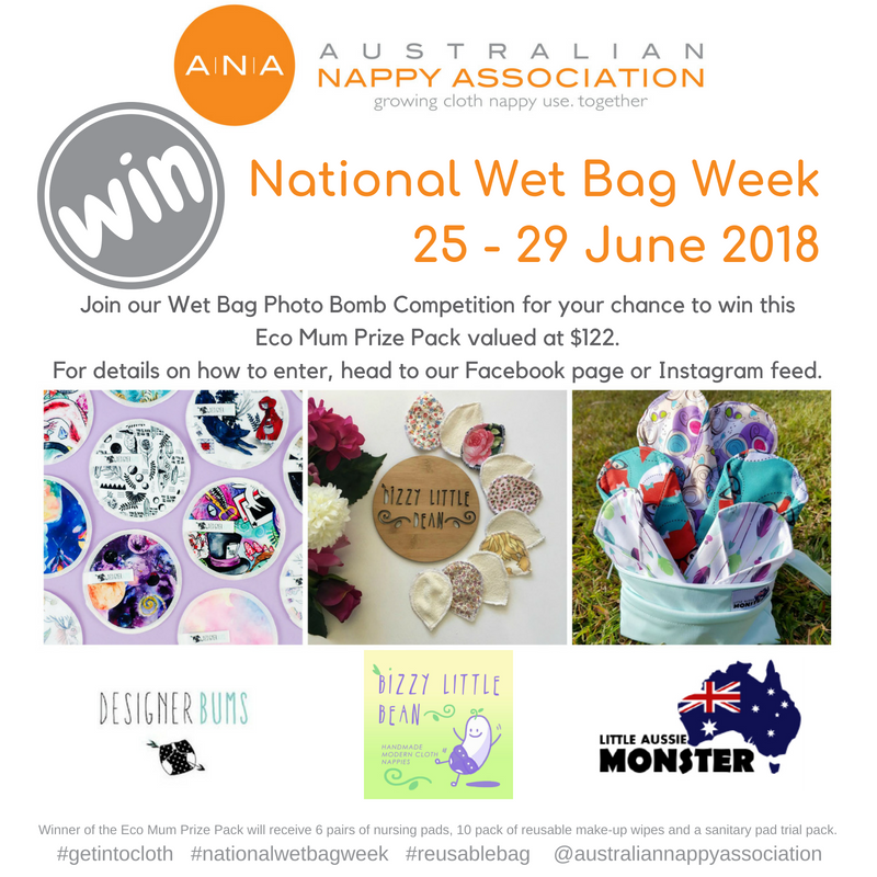Join in the fun of National Wet Bag Week and you could win this Eco Mum Prize Pack! #nationalwetbagweek #reusablebag #getintocloth @australiannappyassociation
